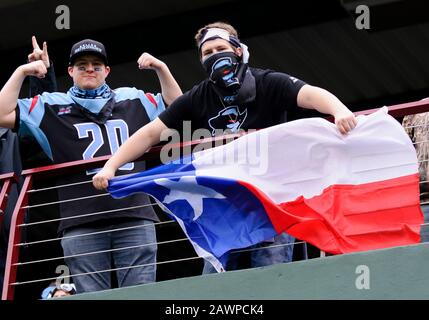 Arlington, Texas, USA. 9th Feb, 2020. Dallas Renegades fans before the 1st half of the XFL game between St. Louis Battlehawks and the Dallas Renegades at Globe Life Park in Arlington, Texas. Credit: Cal Sport Media/Alamy Live News - Stock Photo