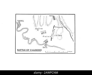1912 : The Emperor NAPOLEONE I BONAPARTE ( 1769 - 1821 ) map of the battle of CALDIERO on River Adige near Verona , ITALY , from the book of memories - Stock Photo