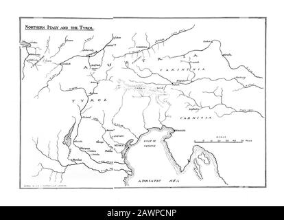 1912 : The Emperor NAPOLEONE I BONAPARTE ( 1769 - 1821 ) map of the battles from the Adige ( Italy ), Tyrol , Austria and Germany, from the book of me - Stock Photo