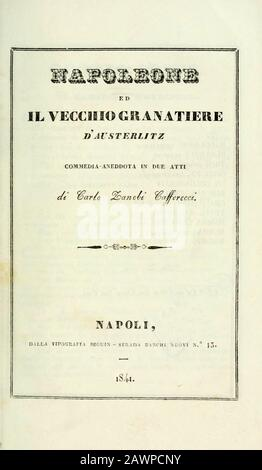 1841 , NAPOLI , ITALY  : The Emperor NAPOLEONE I BONAPARTE ( 1769 - 1821 ) , book with a comedy based on the battle of Austerlitz ,NAPOLEONE AND THE O - Stock Photo