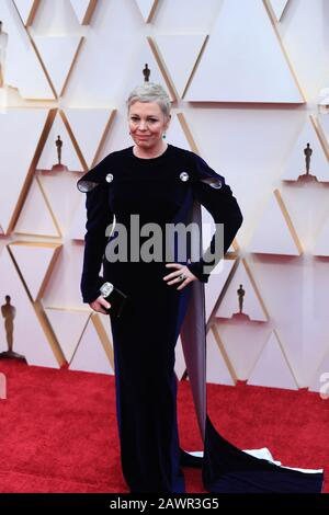 Los Angeles, USA. 9th Feb, 2020. Olivia Colman arrives for the red carpet of the 92nd Academy Awards, at the Dolby Theatre in Los Angeles, the United States, Feb. 9, 2020. Credit: Li Ying/Xinhua/Alamy Live News - Stock Photo