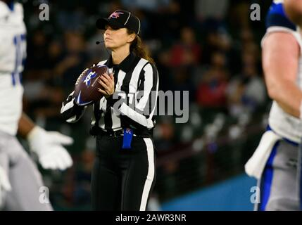 Arlington, Texas, USA. 9th Feb, 2020. during Female Referee Crystal Cooksey sets the ball the 2nd half of the XFL game between St. Louis Battlehawks and the Dallas Renegades at Globe Life Park in Arlington, Texas. Credit: Cal Sport Media/Alamy Live News - Stock Photo