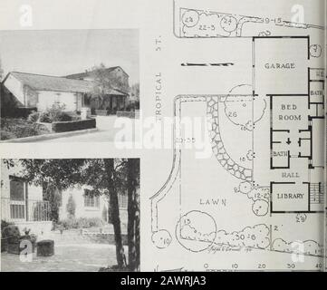 Sunset . T U X E I Q 1 ^ M RURAL CHARM IN THE HOME O. At top of page.fhe Hepburn houseas it appears from Tropical Street j[.—^^^Kil^ 5CALE IN  FEET Below, looking fronn the living roomentrance down into the garden - Stock Photo