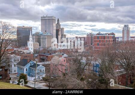 Providence, Rhode Island, city skyline from Prospect Terrace Park on a winter day - Stock Photo