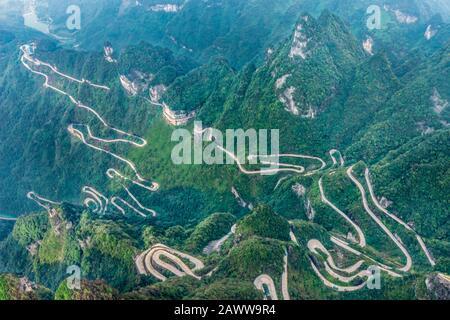 Heaven Linking Avenue of 99 curves at winding Road to The Heaven's Gate, Zhangjiagie, Tianmen Mountain National Park, Hunan, China