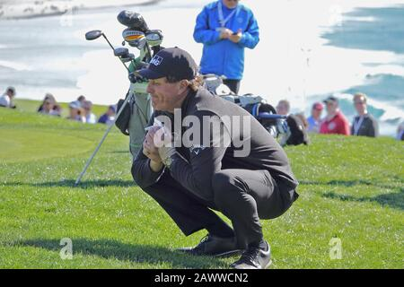 Pebble Beach, USA. 09th Feb, 2020. Monterey, California, USA February 9th 2020 Phil Mickleson looks shocked at losing his crown to Nick Taylor on the links at Pebble Beach during the final day of the AT&T Pro-Am PGA Golf event at Pebble Beach, California, USA Credit: Motofoto/Alamy Live News - Stock Photo
