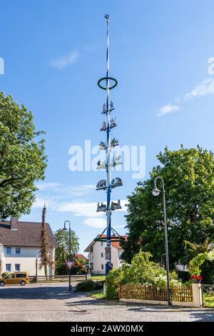 Municipal Germering, District Fürstenfeldbruck, Upper Bavaria, Germany: Maypole, Maibaum in Unterpfaffenhofen