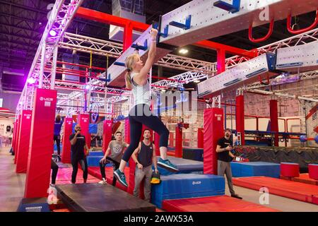 Dallas, USA. 9th Feb, 2020. A participant takes part in the Ninja Nation Competition in Dallas, the United States, on Feb. 9, 2020. Credit: Dan Tian/Xinhua/Alamy Live News - Stock Photo