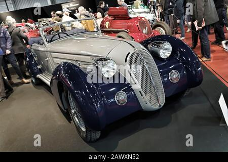 Paris, France. 8th Feb, 2020. 1933 Alfa Romeo 8C2300  Long Chassis Pinin Farina Cabriolet _ The Retromobile show at PARIS-EXPO in Paris, France. - Stock Photo