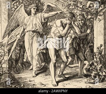 Genesis. God expels Adam and Eve from the Garden of Eden to work the land. Sacred biblical history Old Testament. Old engraving - Stock Photo