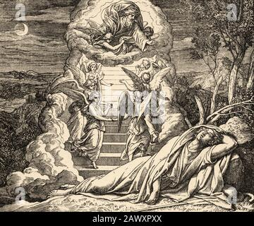 Genesis. Jacob dream that there was a ladder resting on the earth whose upper end reached as far as the sky and the angels of God went up and down it. - Stock Photo