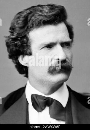Vintage portrait photo of American writer and humourist Samuel Langhorne Clemens (1835 – 1910), better known by his pen name of Mark Twain. Photo by Brady - Handy taken in Washington DC in 1871. - Stock Photo