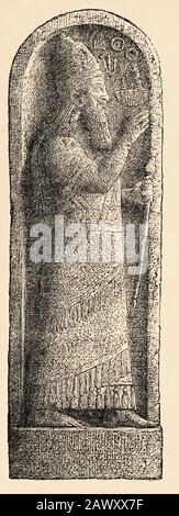The Kition Stele of Sargon II. Old engraving illustration from the book Universal history by Oscar Jager 1890 - Stock Photo