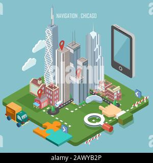 Colorful vector Chicago city in isometry. Navigation concept. Modern illustration. Touristic theme with attractions - Stock Photo