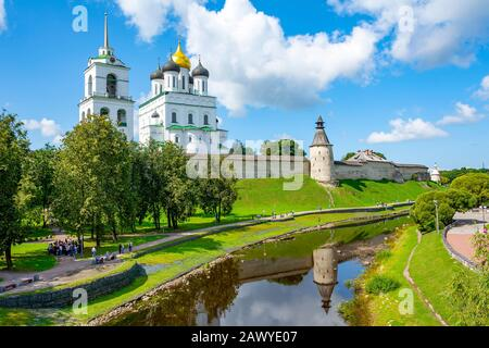 Pskov, view from the Trinity bridge to the Kremlin and the Park in the Pskov river valley, summer Sunny day