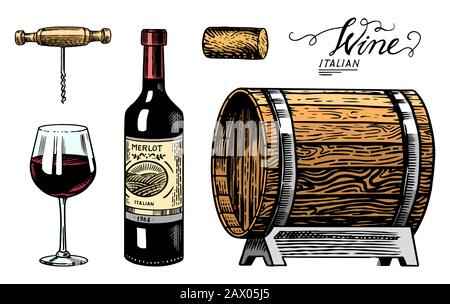 Wine set. Alcoholic drink in the hand. Sparkling champagne, bottle and glass Cheers, wooden barrel. Drawn engraved sketch for bar, restaurant menu. - Stock Photo