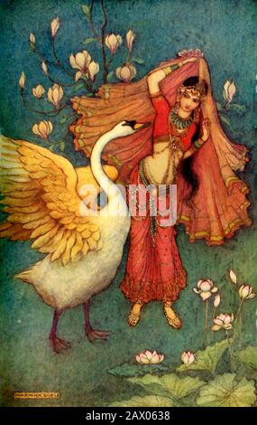 """'Damayanti and the Swan', 1913. Damayanti, princess of Vidarbha Kingdom, fell in love with Nala after hearing of his virtues from a golden swan. From """"Indian Myth and Legend"""", by Donald A. Mackenzie. [The Gresham Publishing Company Limited, London, 1913] - Stock Photo"""