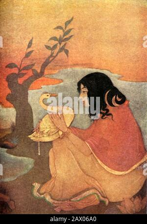 """'Damayanti', 1920. Damayanti, a character in a love story in the Vana Parva book of the Mahabharata, was a princess of such beauty even the Gods admired her. She fell in love with Nala after hearing of his virtues from a golden swan. From """"Myths of the Hindus & Buddhists"""", by The Sister Nivedita and Ananda K. Coomaraswamy. [George G. Harrap & Company Ltd, London, 1920] - Stock Photo"""