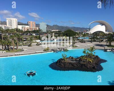Santa Cruz de Tenerife, Spain - 22 December, 2019 Santa Cruz de tenerife cityscape, pools  Maritimo Cesar Manrique,  Tenerife,  Canary islands, Spain.