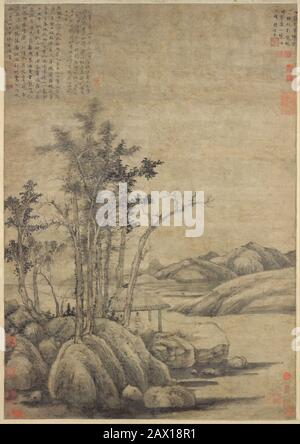 Enjoying the Wilderness in an Autumn Grove, dated 1339. Man seated in a rustic pavilion - the scholar in his studio. Yuan dynasty (1271-1368) - Stock Photo