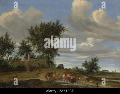 A Country Road, 1648. - Stock Photo