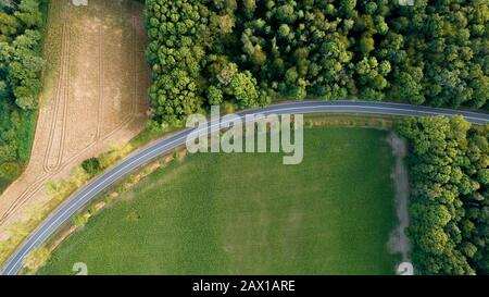 view of highway from drone, empty higway from above - Stock Photo