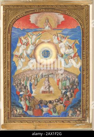 Manuscript Leaf with Adoration of the Holy Name, from a Book of Hours, after 1530 (?). - Stock Photo