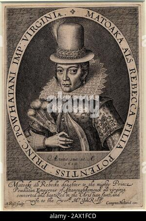 1616 , GREAT BRITAIN : Pocahontas ( Virginia, 1595 ca – Gravesend, 21 march 1617 ) as  Mrs. John Rolfe , from a portrait painting done in London , England , 1616 by engraver artist Simon Van de Passe ( ca. 1595 - 1647 ).  Pocahontas (born Matoaka, and later known as Rebecca Rolfe, c. 1595 -March 1617) was a Virginia Indian .In an historical anecdote, she is said to have saved the life of an Indian captive, Englishman John Smith, in 1607 by placing her head upon his own when her father raised his war club to execute him .-  POCAHONTAS - Princess Powhatani - Epopea del Selvaggio WEST - NATIVE AM