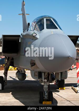 LUQA, MALTA - SEP 26 - Front detail of a Tornado jet fighter canopy during the Malta International Airshow 26th September 2009 - Stock Photo