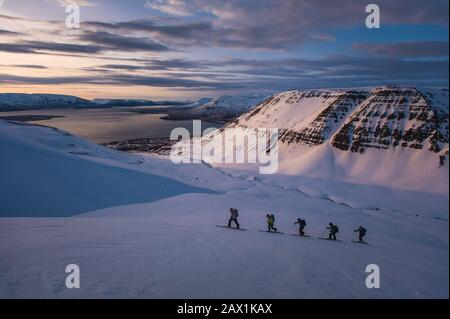 Group of people backcountry skiing at sunrise in Iceland