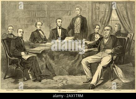 1861 , USA :  The cabinet at Washington. From 'HARPER'S WEEKLY'  13 july 1861 .  The U.S.A. President ABRAHAM LINCOLN ( 1809 - 1865 ) . Print showing Abraham Lincoln President , signing the CONSTITUTION OF THE UNITED STATES OF AMERICA  . Print showing Lincoln with Montgomery BLAIR ( 1813 - 1883 ), Caleb B. (Caleb Blood) SMITH (1808 - 1864), Chase, Salmon P.--(Salmon Portland) CHASE (1808 - 1873 ), William Henry SEWARD (1801 - 1872 ), Simon CAMERON ( 1799 - 1889 ), Bates, Edward BATES (1793 - 1869 ), Gideon WELLES ( 1802 - 1878 )  -  Presidente della Repubblica - Stati Uniti -  USA - ritratto - - Stock Photo