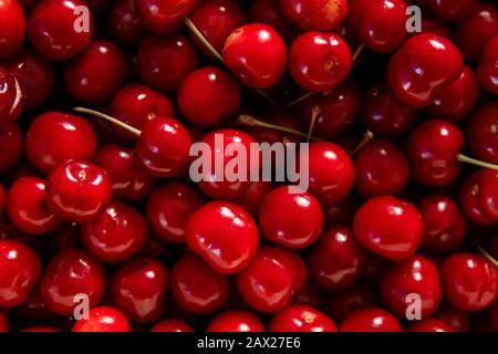 Sweet red cherries close up - Stock Photo
