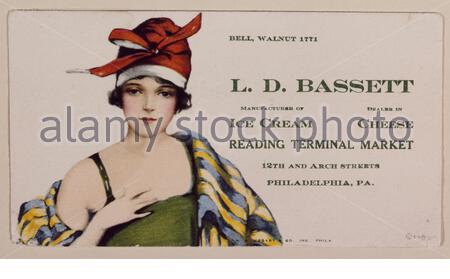 English: Title: 1920s-vintage advertising flier for the Bassett's Ice Cream stand in the Reading Terminal Market, Philadelphia, Pennsylvania Physical description: 1 transparency : color ; 4 x 5 in. or smaller.  Notes: Digital image produced by Carol M. Highsmith to represent her original film transparency; some details may differ between the film and the digital images.; Forms part of the Selects Series in the Carol M. Highsmith Archive.; Gift and purchase; Carol M. Highsmith; 2011; (DLC/PP-2011:124).; Bassett's was one of the original tenants of the Reading Terminal Market.; Title, date, subj - Stock Photo
