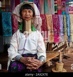 Chiang Rai Province, Thailand, Karen Long Neck woman wearing traditional brass rings in hill tribe village near Chiang Rai.