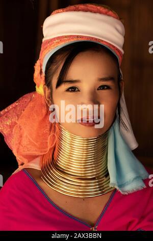 Chiang Rai Province, Thailand, portrait of young Karen Long Neck woman wearing traditional brass rings in hill tribe village near Chiang Rai.