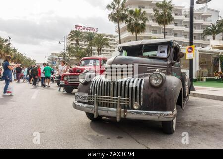 1946 Chevrolet Pickup Truck Chevy 350 700R4, on display during street festival. Torremolinos, Spain. - Stock Photo