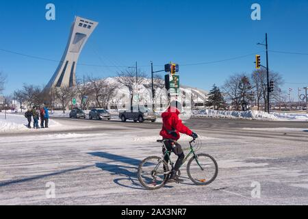 Montreal, CA - 8 February 2020: Man riding a bike in winter, in front of Montreal Olympic Stadium - Stock Photo