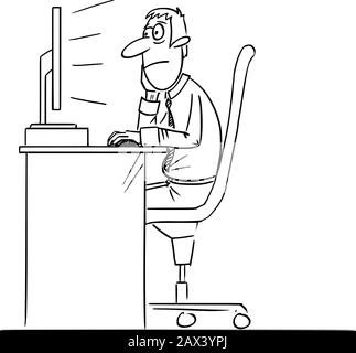 Vector funny comic cartoon drawing of bored man, office worker or businessman working on computer. - Stock Photo