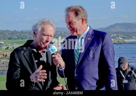 Pebble Beach, USA. 10th Feb, 2020. Monterey, California, USA February 9th 2020 Hollywood star, ex-Mayor of Carmel, Clint Eastwood interviewed by Jim Nantz of CBS TV on the links of Pebble Beach on the final day of the AT&T Pro-Am PGA Golf event California, USA Credit: Motofoto/Alamy Live News - Stock Photo