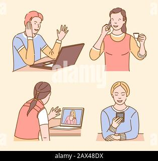 People communicating flat vector illustrations set. Man talking on phone, worker having video call, girls chatting isolated cartoon characters with outline. Online conversation, business dialogue - Stock Photo
