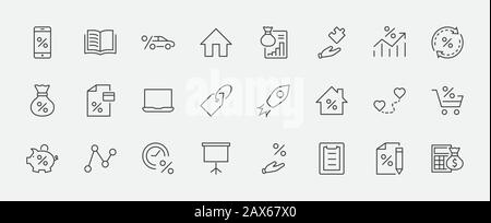 Set of Credit and Loan Related Vector Line Icons. Contains such Icons as Credit Card, Rate Calculator, Deposit and more. Editable Stroke. 32x32 Pixels - Stock Photo