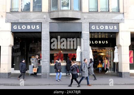 A view of Globus in Basel, a Swiss department store - Stock Photo