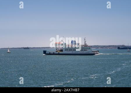 Fishbourne, United Kingdom - June 22 2018: Former Wightlink St Cecilia car ferry travelling between Fishbourne and Portsmouth. The 'retired' ferry now - Stock Photo