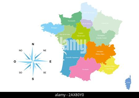 Detailed map of the 13 regions of France - reformed - editable colored illustration and useful for designers - Stock Photo