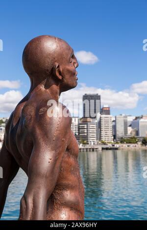 Solace of the wind statue, Wellington skyline, New Zealand - Stock Photo