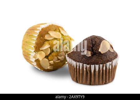Freshly baked homemade banana  cupcakes on white background with clipping path - Stock Photo