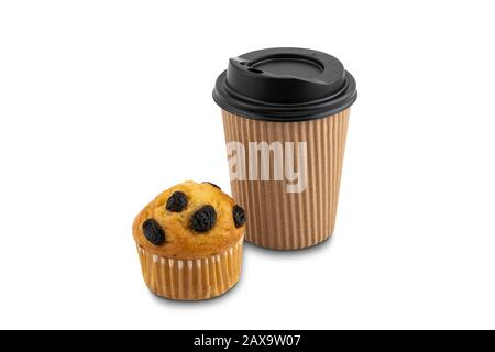 Freshly baked banana cupcake with raisin and cup of coffee on white background with clipping path - Stock Photo