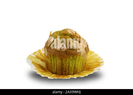 Freshly baked banana muffin on white background with clipping path - Stock Photo