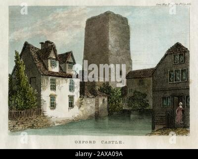 Norman Tower and Castle Mill, Oxford, UK - scan of original 1832 coloured engraving - Stock Photo
