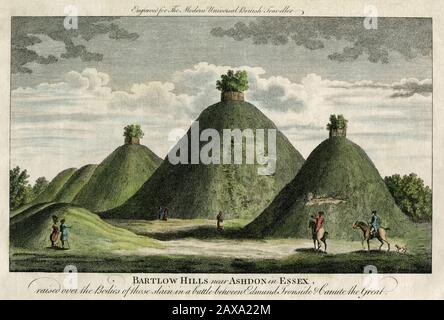 Roman burial ground, Bartlow Hills, England - scan of original 1779 coloured engraving - Stock Photo